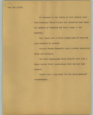 Primary view of object titled '[News Script: For The Ladies]'.