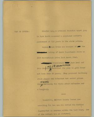 Primary view of object titled '[News Script: Brown trial]'.