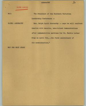 Primary view of object titled '[News Script: Abernathy]'.