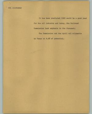 Primary view of object titled '[News Script: Oil allowable]'.