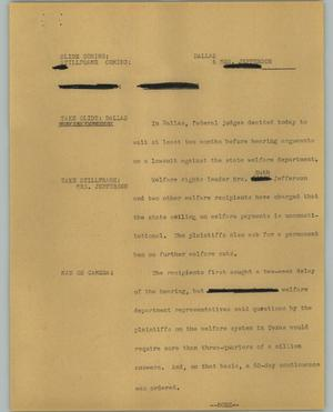 Primary view of object titled '[News Script: Mrs. Jefferson]'.