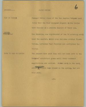 Primary view of object titled '[News Script: Dodgers]'.
