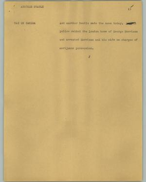 Primary view of object titled '[News Script: Another Beatle]'.