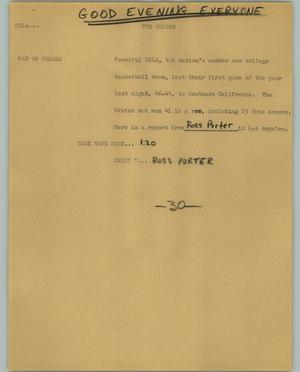 Primary view of object titled '[News Script: UCLA]'.