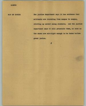 Primary view of object titled '[News Script: Campus]'.
