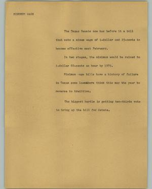 Primary view of object titled '[News Script: Minimum wage]'.