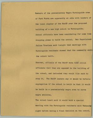 Primary view of object titled '[News Script: Morningside]'.