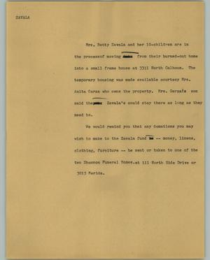 Primary view of object titled '[News Script: Zavala]'.