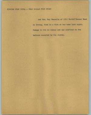Primary view of object titled '[News Script: Firving Fire Fatal]'.