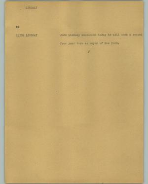 Primary view of object titled '[News Script: Lindsay]'.