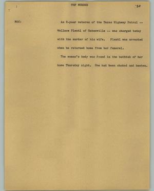 Primary view of object titled '[News Script: THP Murder]'.
