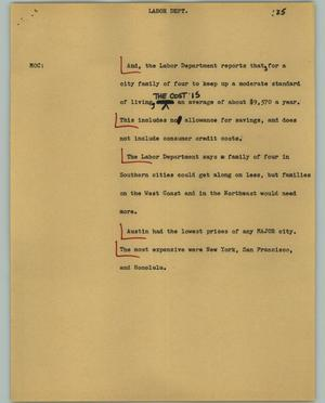 Primary view of object titled '[News Script: Labor dept.]'.