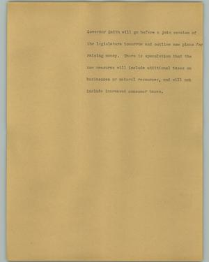 Primary view of object titled '[News Script: Governor Smith]'.