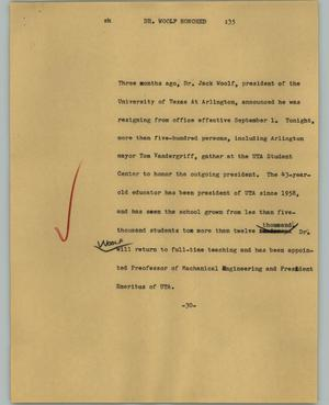 Primary view of object titled '[News Script: Dr. Woolf honored]'.