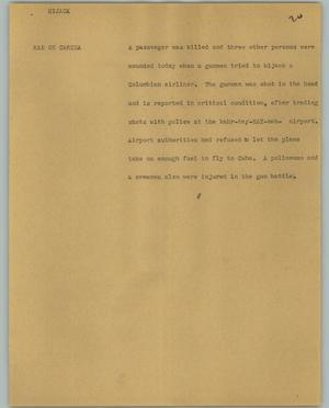 Primary view of object titled '[News Script: Hijack]'.