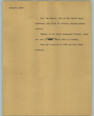 Primary view of object titled '[News Script: Eisele's Phttt]'.