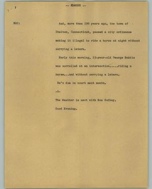 Primary view of object titled '[News Script: Closer]'.