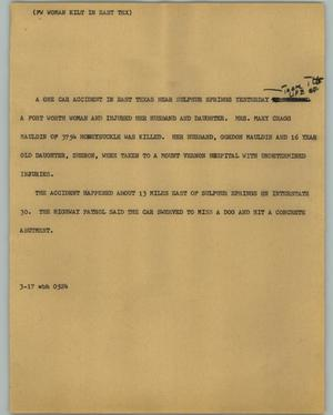 Primary view of object titled '[News Script: FW Woman Kilt in East Tex]'.