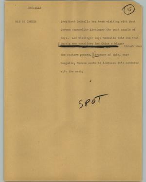 Primary view of object titled '[News Script: Degaulle]'.