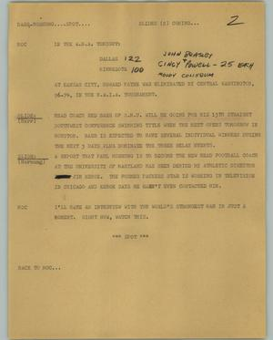 Primary view of object titled '[News Script: Barr Hornung]'.