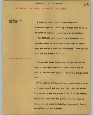 Primary view of object titled '[News Script: Dyson suit]'.