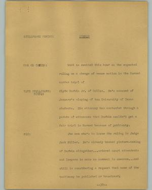 Primary view of object titled '[News Script: Durbin]'.