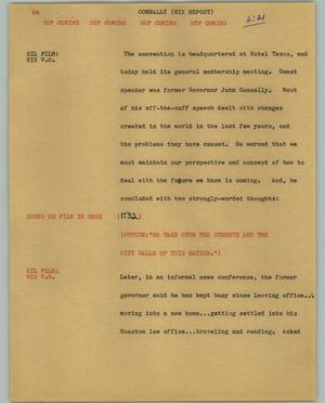 Primary view of object titled '[News Script: Connally (Hix report)]'.