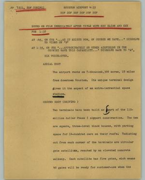 Primary view of object titled '[News Script: Houston airport]'.