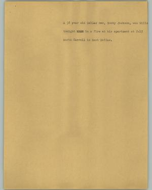 Primary view of object titled '[News Script: Jackson death]'.