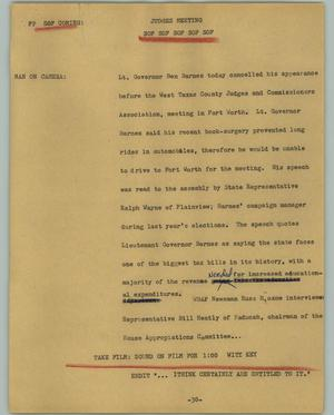 Primary view of object titled '[News Script: Judges meeting]'.