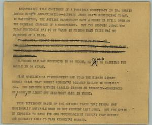 Primary view of object titled '[News Script: Assassinations]'.