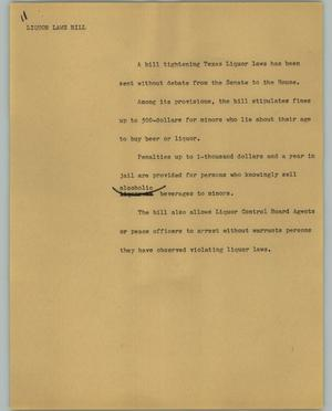 Primary view of object titled '[News Script: Liquor laws bill]'.