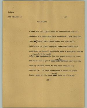 Primary view of object titled '[News Script: Jet Bellies]'.