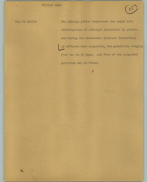Primary view of object titled '[News Script: Chicago Cops]'.