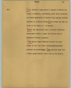Primary view of object titled '[News Script: Hughes]'.