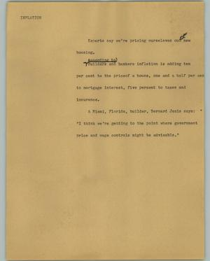 Primary view of object titled '[News Script: Inflation]'.