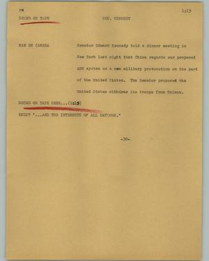 Primary view of object titled '[News Script: Sen. Kennedy]'.
