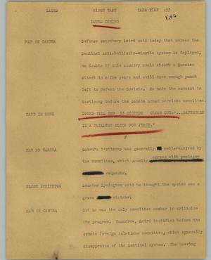 Primary view of object titled '[News Script: Laird]'.