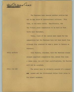 Primary view of object titled '[News Script: Van Cliburn Comp.]'.