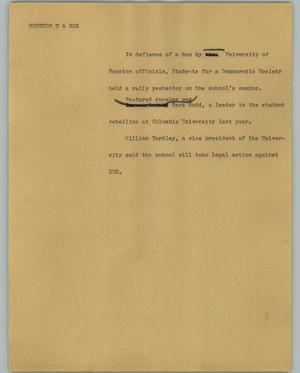 Primary view of object titled '[News Script: Houston U & SDS]'.