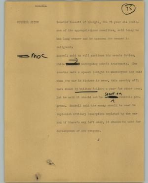 Primary view of object titled '[News Script: Russell]'.
