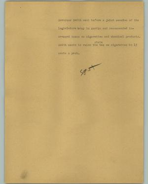 Primary view of object titled '[News Script: Cigarette taxes]'.