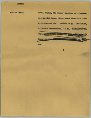 Primary view of object titled '[News Script: Faubus]'.