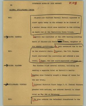 Primary view of object titled '[News Script: Courtroom round-up]'.