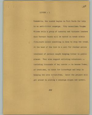 Primary view of object titled '[News Script: Litter]'.