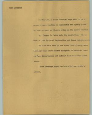 Primary view of object titled '[News Script: Moon landings]'.