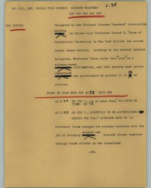 Primary view of object titled '[News Script: Science teachers]'.