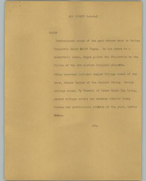 Primary view of object titled '[News Script: All sports]'.