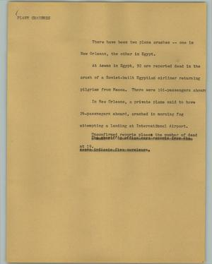Primary view of object titled '[News Script: Plane crashes]'.