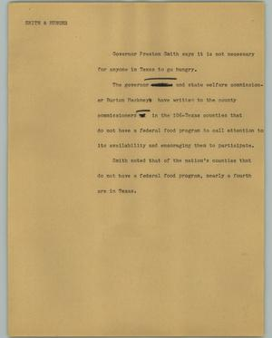Primary view of object titled '[News Script: Smith & Hunger]'.